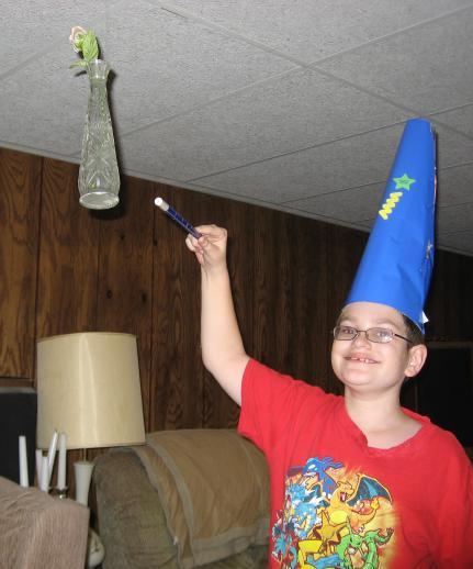 Wizard levitating vase